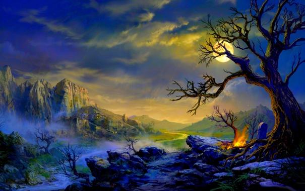 Фото обои костер, долина, пейзаж, горы, дом, огни, дерево