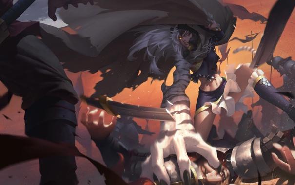 Фото обои девушка, тигр, фантастика, атака, лапа, рука, бой