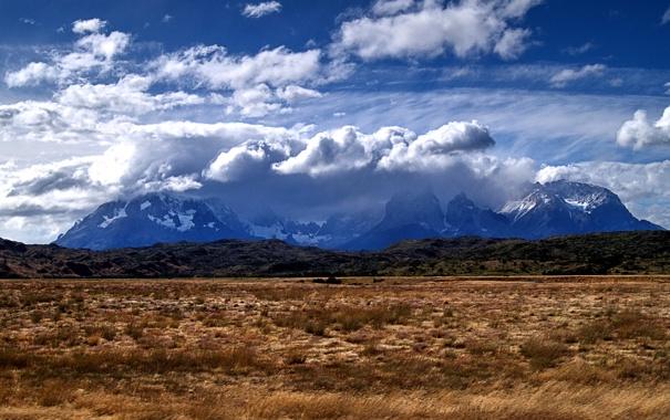 Фото обои поле, облака, горы, простор, Чили, Patagonia