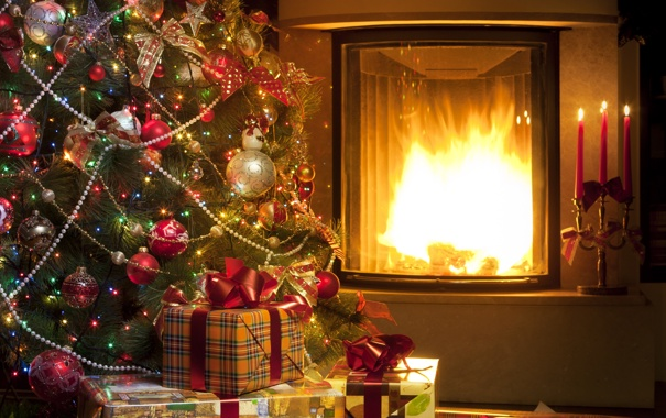 Фото обои украшения, lights, огни, шары, елка, свечи, подарки