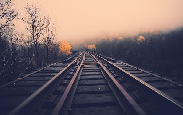 Фото обои дорога, осень, путь, рельсы, road, fall, rail