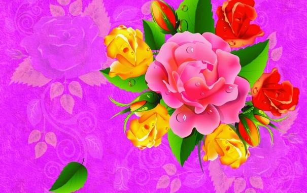 Фото обои цветок, капли, лист, роза, вектор, букет, силуэт