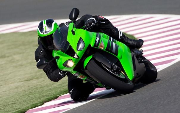 Фото обои спорт, гонки, байки, kawasaki, мото обои, moto racing, зелёный кавасаки