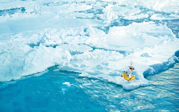 Фото обои вода, снег, лёд, снеговик, Frozen, айсберги, Walt Disney