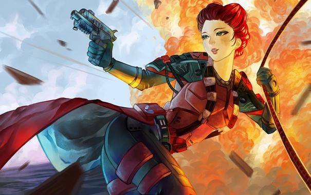 Фото обои взгляд, девушка, взрыв, пистолет, веревка, солдат, костюм
