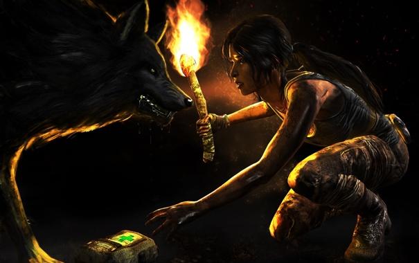 Фото обои огонь, факел, Lara Croft, девушка, выживание, аптечка, волк