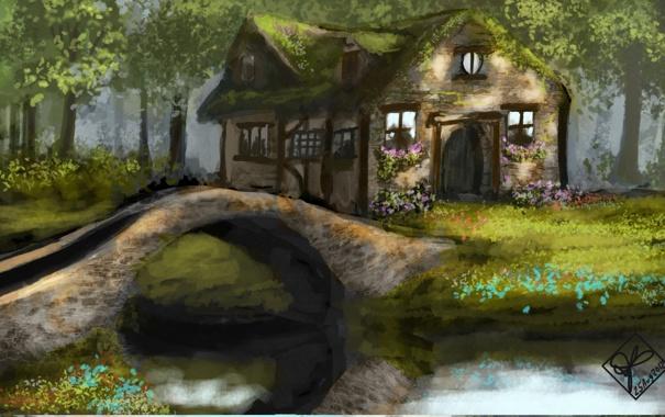 Фото обои лес, деревья, цветы, мост, дом, река, арт