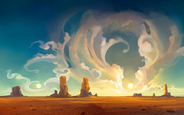Фото обои небо, облака, пейзаж, закат, природа, абстракция, скалы