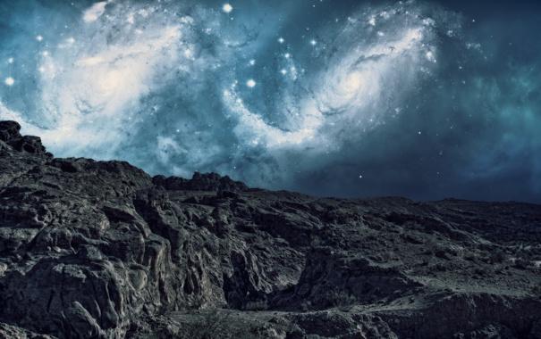 Фото обои небо, звезды, горы, фантастика, галактики, гряда