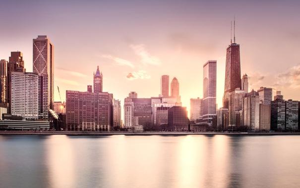 Фото обои Закат, Вода, Чикаго, Мичиган, Небоскребы, Здания, Америка