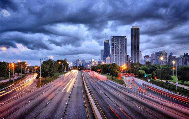 Фото обои city, огни, небоскребы, вечер, USA, америка, чикаго