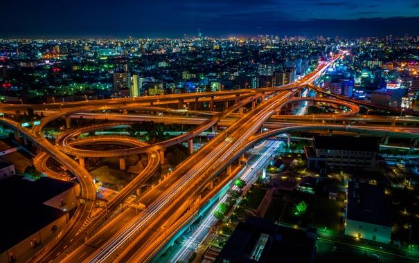 Фото обои ночь, огни, Япония, Осака