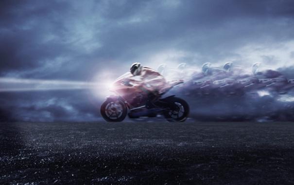 Фото обои speed, скорость, свет, мотоцикл