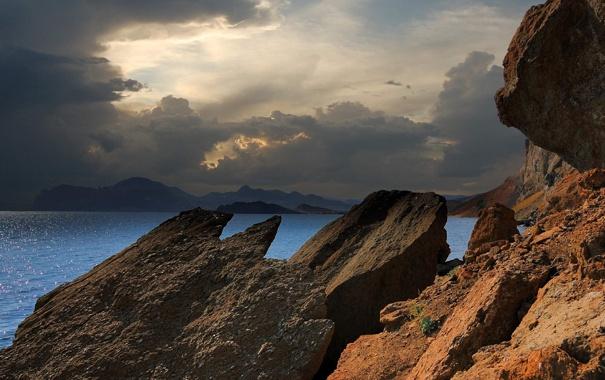Фото обои камни, скалы, Крым, облака, тень, море, Черное