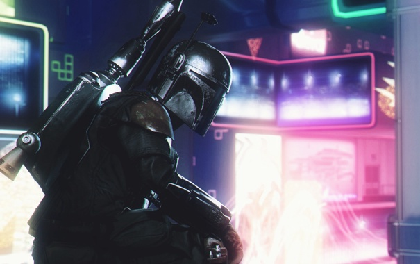 Фото обои огни, оружие, неон, шлем, star wars, броня, boba fett