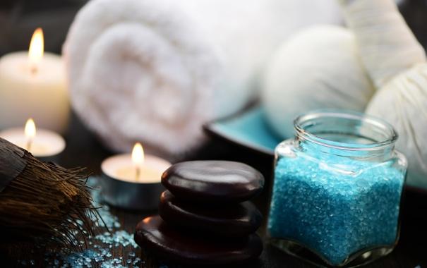 Фото обои морская соль, свечи, полотенце, спа камни