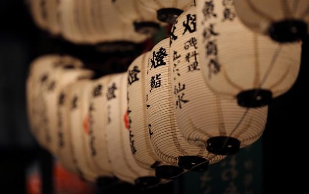 Фото обои иероглифы, китайские, фонарики, фонари