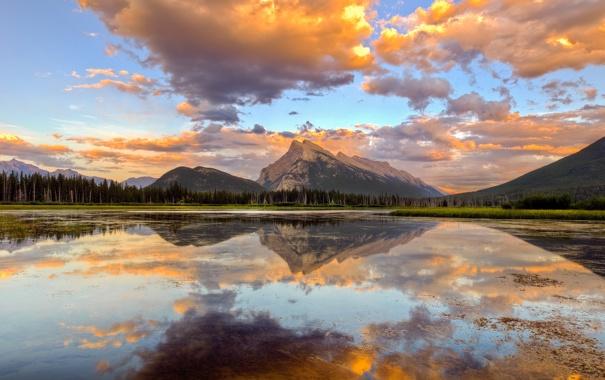 Фото обои небо, закат, озеро, Горы, канада