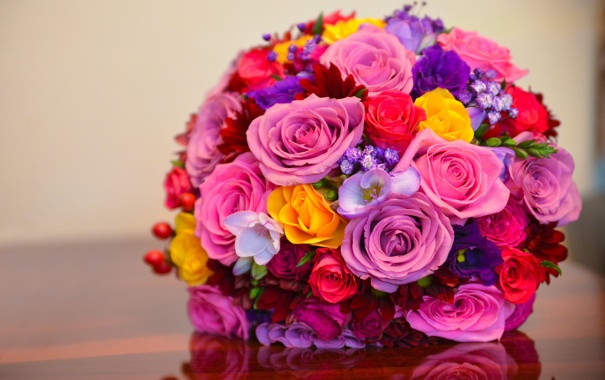 Фото обои розы, colorful, bouquet, roses, wedding, bridal, букет невесты