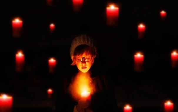 Фото обои настроение, свечи, девочка
