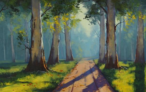 Фото обои Рисунок, Арт, Artsaus, Forest Light