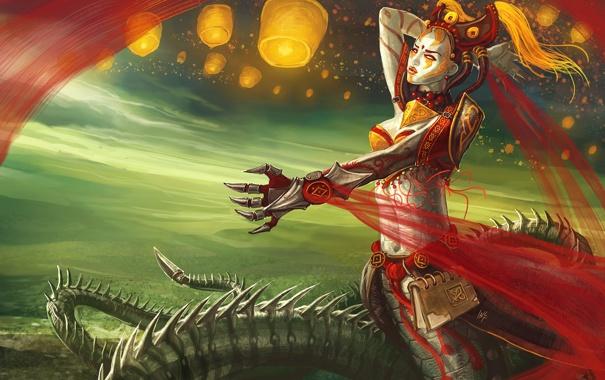 Фото обои девушка, доспехи, хвост, книга, чудовище, league of legends, cassiopeia