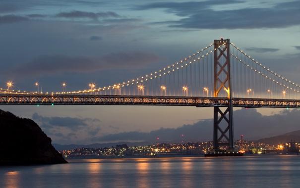 Фото обои Сумерки, San Francisco, Город, Sky, Bay Bridge, Twilight, City