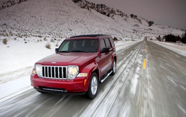 Фото обои Красный, Зима, Дорога, Снег, Фары, Внедорожник, Jeep