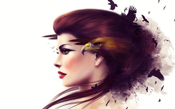 Фото обои взгляд, девушка, птицы, ресницы, волосы, макияж, белый фон