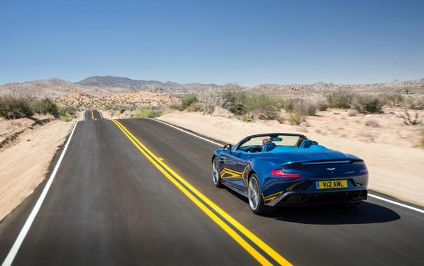 Фото обои автомобиль, дорога, вид сзади, Aston Martin, Vanquish, Volante