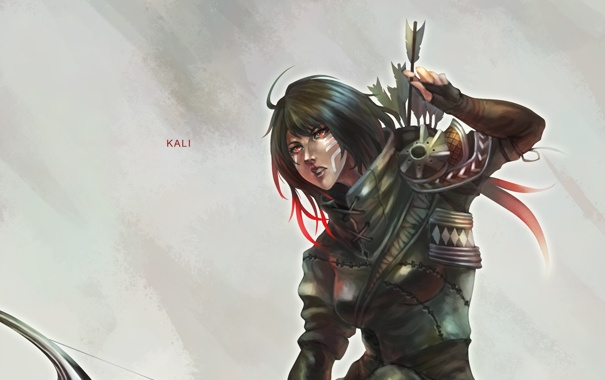 Фото обои девушка, арт, стрелы, лучник, kali