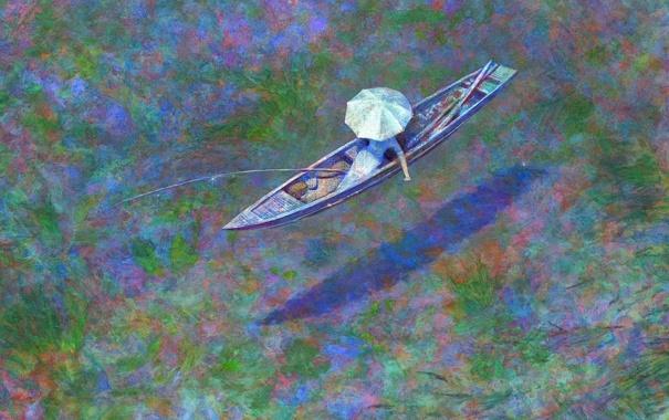 Фото обои вода, девушка, река, лодка, зонт, удочка, Naohisa Inoue
