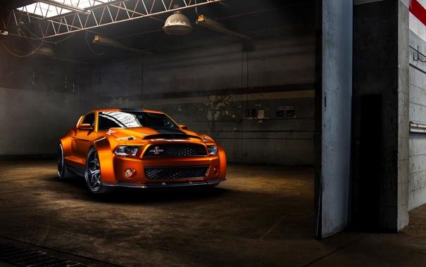 Фото обои Mustang, Ford, Shelby, GT500, Muscle, Orange, Car