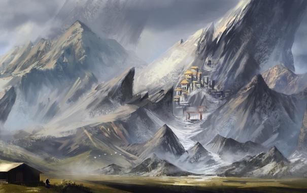 Фото обои поле, пейзаж, горы, город, фантастика, скалы, человек