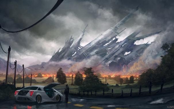Фото обои дорога, машина, огонь, разметка, столбы, провода, человек