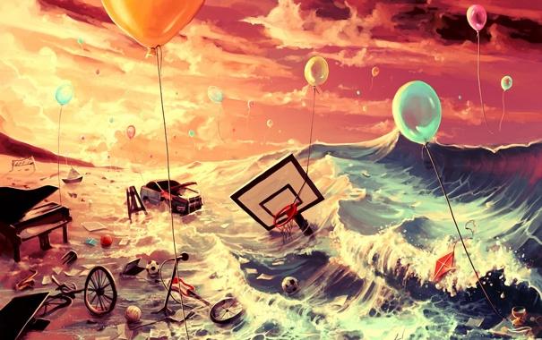 Фото обои море, машина, воздушные шары, фантазия, мячи, арт, воздушный змей