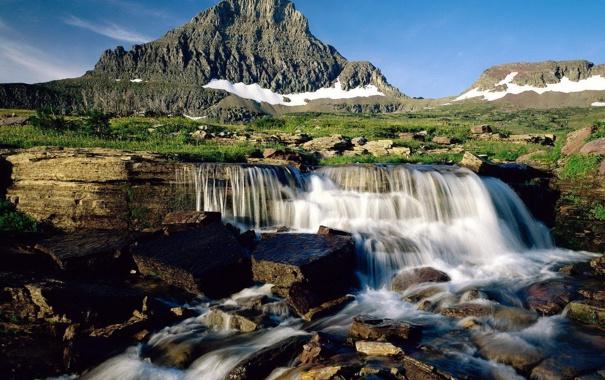 Фото обои небо, трава, ручей, гора, водопад