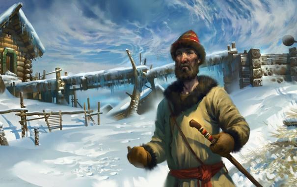 Фото обои зима, снег, мужик, деревня, арт, русь