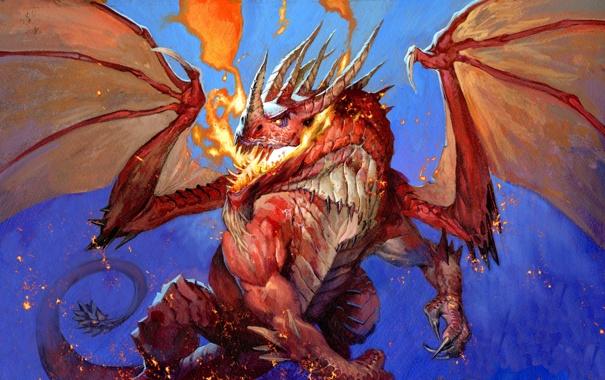 Фото обои огонь, дракон, рисунок, крылья, WoW, World of Warcraft, Hearthstone