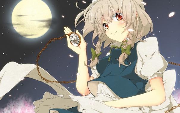 Фото обои девушка, ночь, луна, часы, лепестки, арт, цепочка