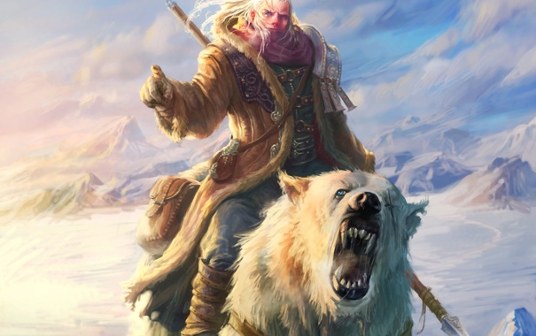 Фото обои снег, горы, медведь, мужчина, копье, Арт, охотник