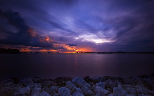 Фото обои закат, океан, вечер, sunset, майами, miami