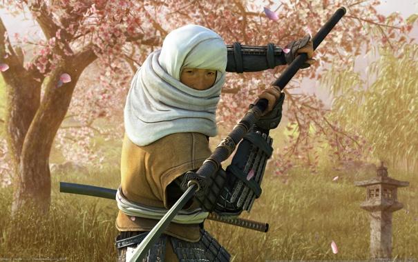 Фото обои оружие, меч, сакура, мужчина, клинок, shogun total war, Нагинат