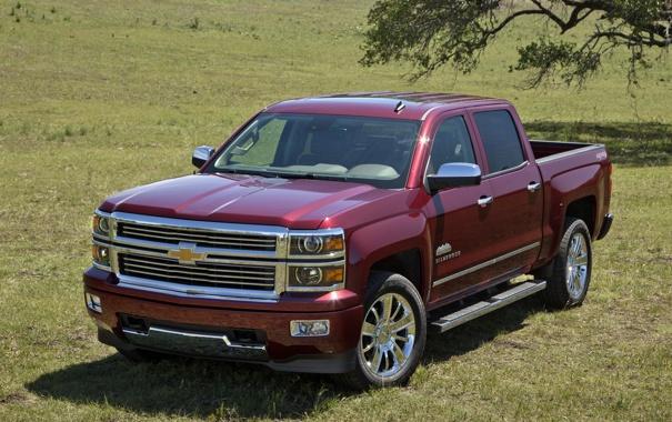 Фото обои мощный, Chevrolet, передок, шевроле, Crew Cab, Silverado, High Country