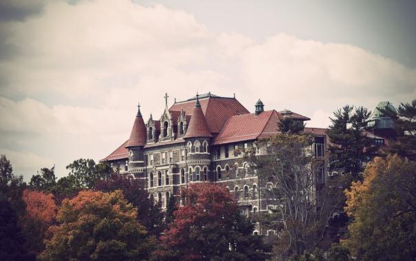 Фото обои деревья, здание, usa, philadelphia, колледж, пенсильвания, chestnut hill college