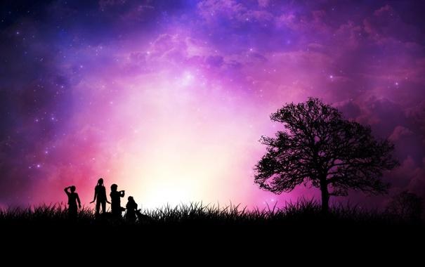Фото обои звезды, люди, дерево, Закат