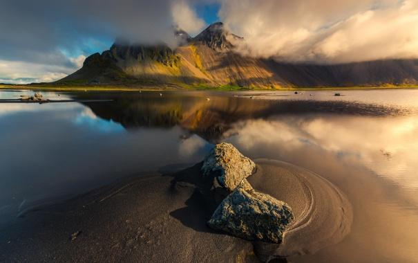 Фото обои природа, река, гора, Исландия