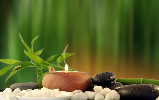 Фото обои свечи, бамбук, Spa, спа, bamboo, candles, морская соль