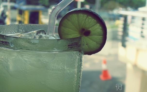 Фото обои лед, макро, фрукт, лайм, трубочка, напиток, лимонад