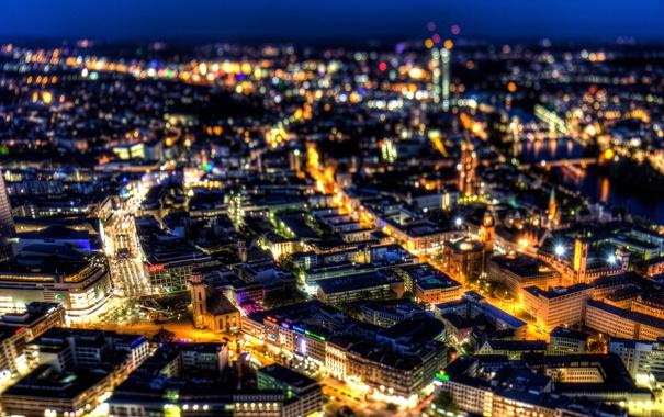 Фото обои ночь, город, огни, здания, дома, Германия, панорама